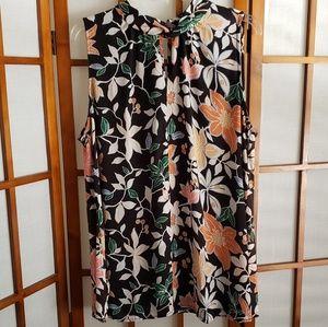 LOFT mixed media sleeveless blouse EUC